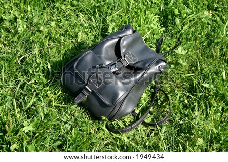 Backpack lying in the grass