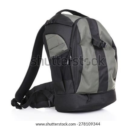 Backpack of photographer isolated on white