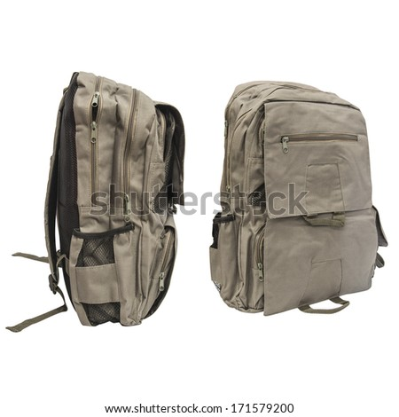 Backpack views isolated on white background - stock photo
