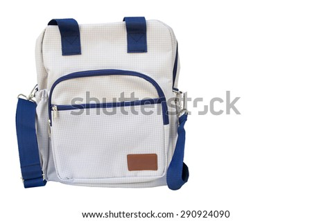 Backpack white and blue isolated on white background. clipping path in picture. - stock photo