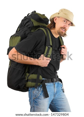 backpacker carrying very heavy backpack, on white background