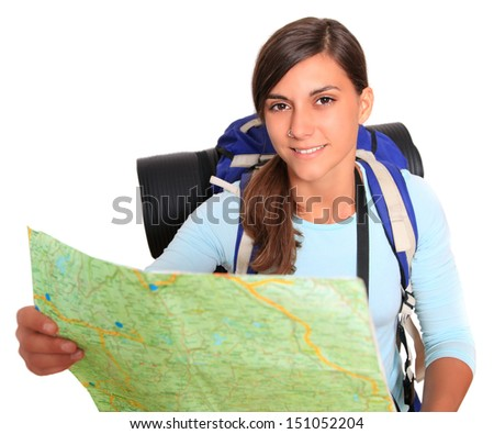 backpacker girl with map - stock photo