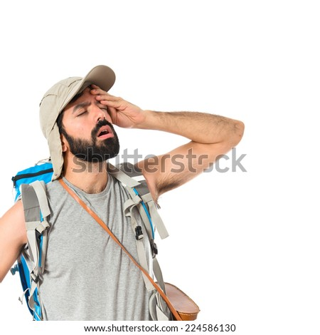 Backpacker thinking over isolated white background