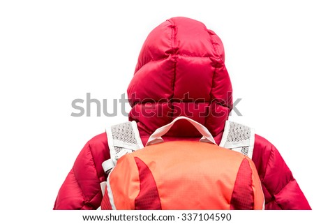 Backpacker wearing down jacket
