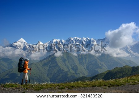 Backpacker with sticks goes along mountain range. Mountain with snow and blue sky are in  the background. Foreground - grass and flowers (alpine meadow). Summer. - stock photo