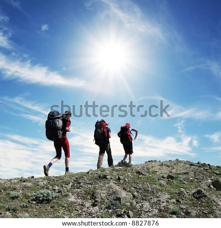Backpackers in the hike - stock photo