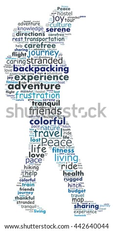 Backpacking graphics image - stock photo