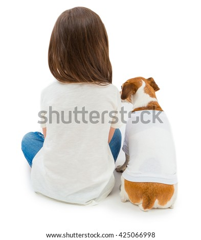 Backs of Friends small girl and her dog sitting down in same white T-shirt . You can place  your design advertising logo or text at an empty space. Studio shot. White background. Template for branding