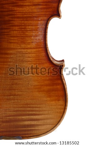 Backside from an old violine isolated on white background - stock photo