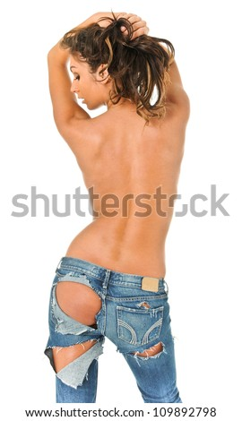Backside of a sexy girl in torn blue jeans - stock photo