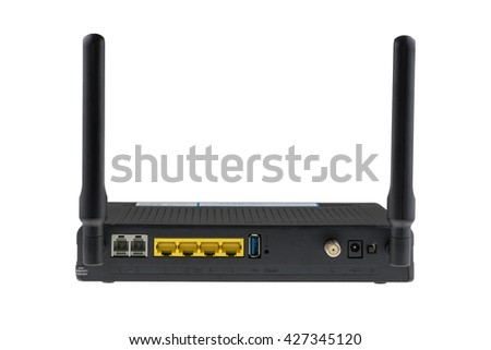 Backside of Black Wireless router with the antenna isolated on white background.A wireless router is a device that performs the functions of a router and includes functions of a wireless access point. - stock photo