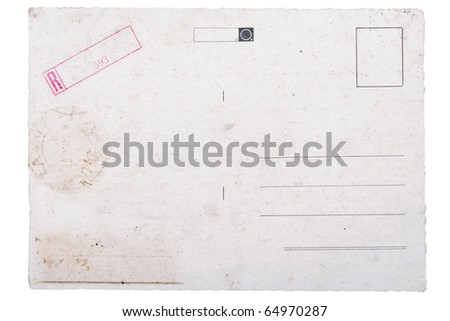 backside of old postal card with aging mark - stock photo