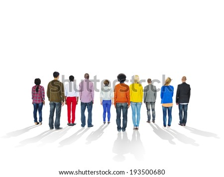 Backsides of Multi-Ethnic People and Copy Space - stock photo