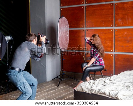 Backstage during shooting in the studio - stock photo