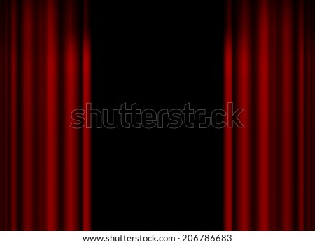 Backstage with red curtain background