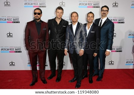Backstreet Boys at the 40th American Music Awards Arrivals, Nokia Theatre, Los Angeles, CA 11-18-12 - stock photo