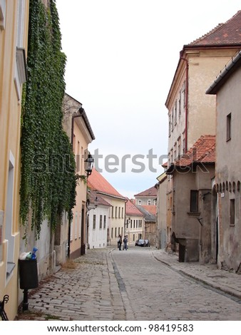 Backstreet with small houses in historical center of Bratislava, Slovakia