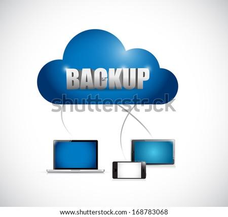 backup cloud network electronics. illustration design over a white background - stock photo
