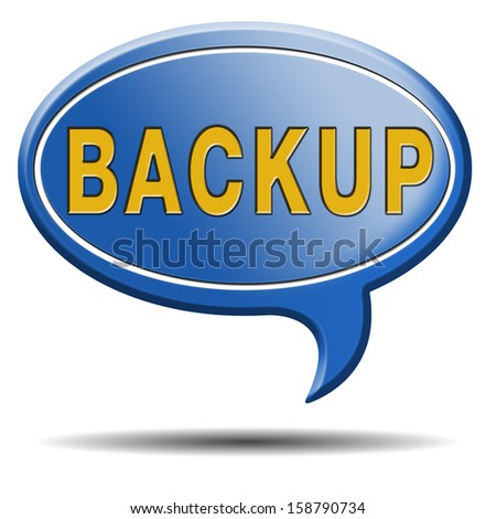 Backup data and software on copy in the cloud on a harddrive disk on a computer or server for file security. Internet safety icon or botton.