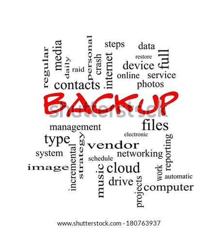 Backup Word Cloud Concept in red caps with great terms such as files, cloud, data and more.