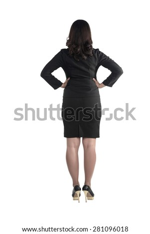 Backview of asian business woman isolated over white background - stock photo
