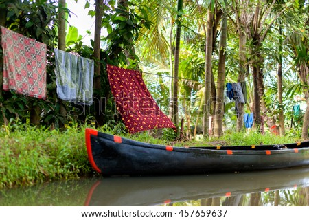 Backwaters in Kerala, India. Beautiful scene from an old Indian village