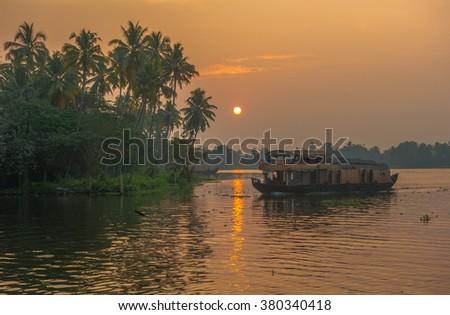 Backwaters of Kerala at sunrise, India - stock photo