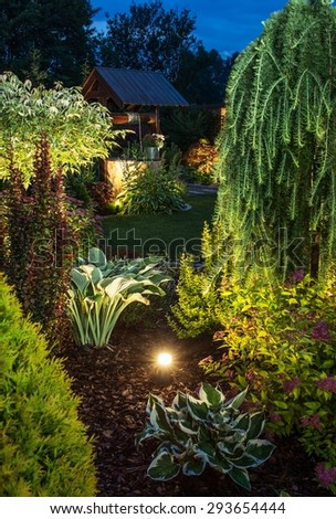 Backyard Garden Illumination. Illuminated Garden at Night with Various of Plants. Vertical Closeup Photo. - stock photo