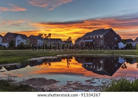 Backyard Sunset - stock photo