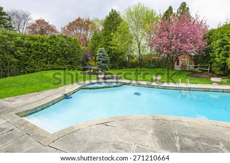 Backyard with outdoor inground residential private swimming pool and stone patio - stock photo