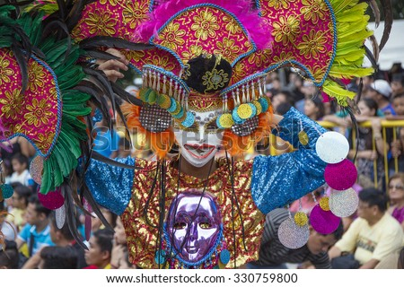BACOLOD - OCTOBER 18: The Masskara Festival is held every year in October and is designed to uplift the spirits of the people in the City of Smiles, as seen in Bacolod, Philippines on 18 October 2015. - stock photo