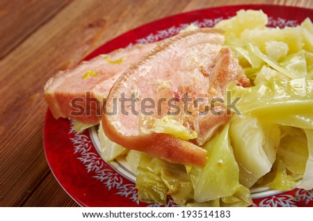 Bacon and cabbage -  dish traditionally associated with Ireland. back bacon boiled with cabbage and potatoes.