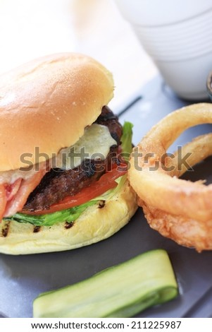 bacon and cheese burger in brioche bun