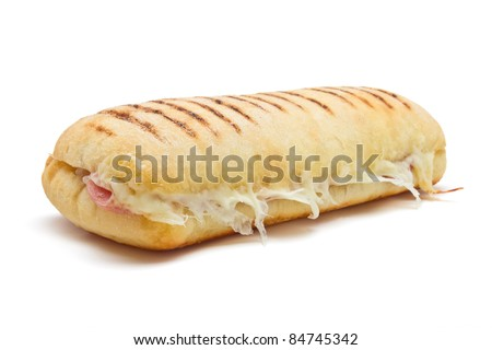 bacon and cheese panini from low perspective isolated on white. - stock photo