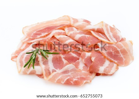 Bacon isolated on white background. Delikatese food.