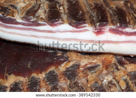 Bacon photographed at close range - stock photo