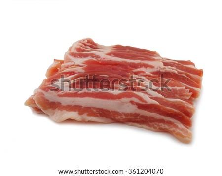 Bacon, pork belly slice on white background - stock photo