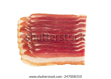 Bacon slices on a white background - stock photo