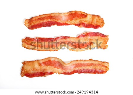 Bacon strips isolated on white background - stock photo