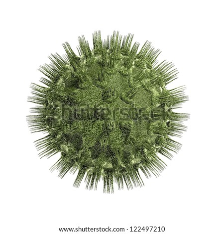 Bacteria virus render in green color isolated on whire - stock photo