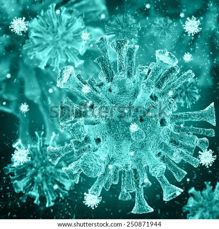 bacterial intruder cells causing sickness - stock photo