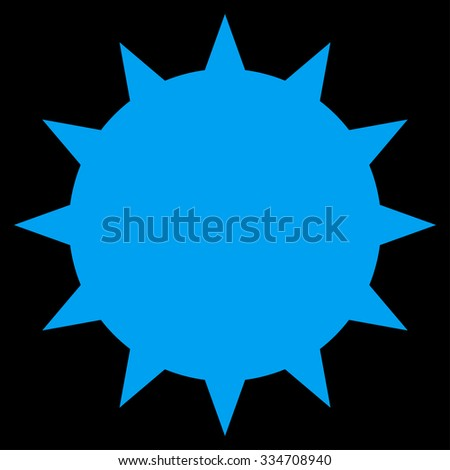 Bacterium glyph icon. Style is flat symbol, blue color, rounded angles, black background.