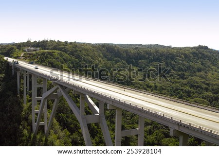 Bacunayagua bridge in Matanzas, Cuba, At 110 meters above the valley floor, it is the highest bridge in Cuba - stock photo