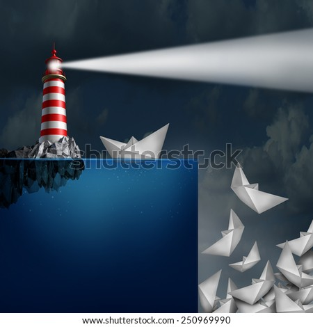 Bad advice concept as a lighthouse with a light beacon falsely guiding paper ships off a cliff as a metaphor for incompetent or fraudulent financial consultation. - stock photo
