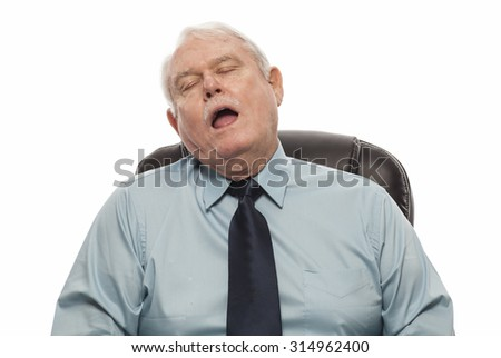 Bad Behavior Employee Series - Man falling asleep at his desk. - stock photo