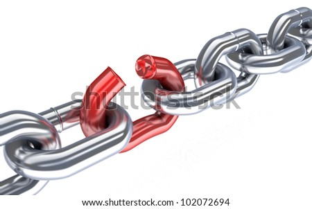 Bad chain (done in 3d,isolated) - stock photo