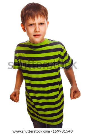 bad child boy blond bully angry aggressive fights in striped green shirt isolated on white background - stock photo
