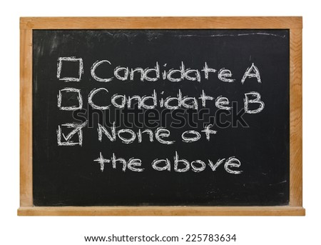 Bad choices for voting written in white chalk on a black chalkboard isolated on white
