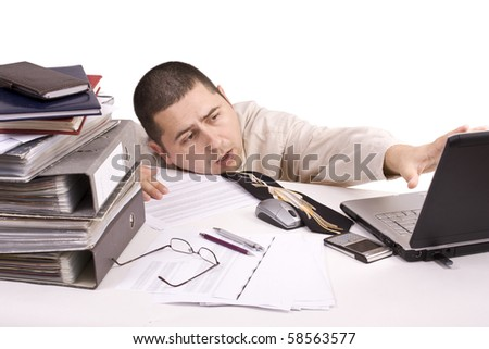 Bad day at work, isolated in white - stock photo
