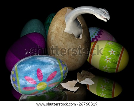 Bad easter eggs with dinosaurs inside. Digitally created image.